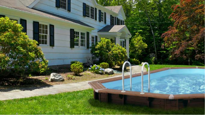 Abatec drewniany basen z metalową drabinką w ogrodzie. Klasyczna konfiguracja basenu