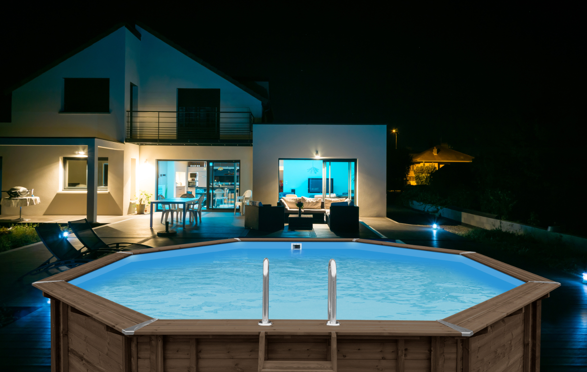 above ground wooden pool abatec house evening time luxury house blue hawaii