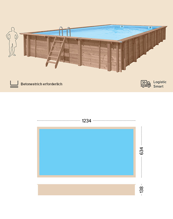 Holzpool technische Zeichnung Abatec Deep Water