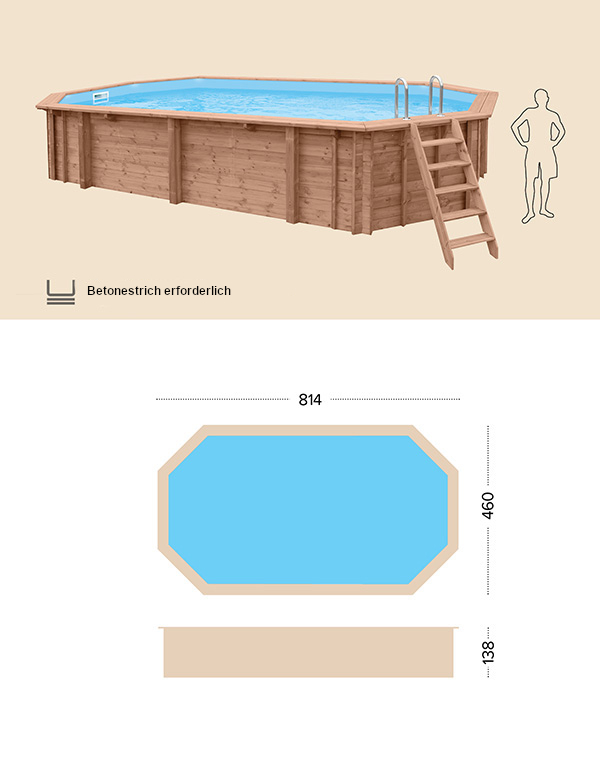 Holzpool technische Zeichnung abatec Pacific Paradise