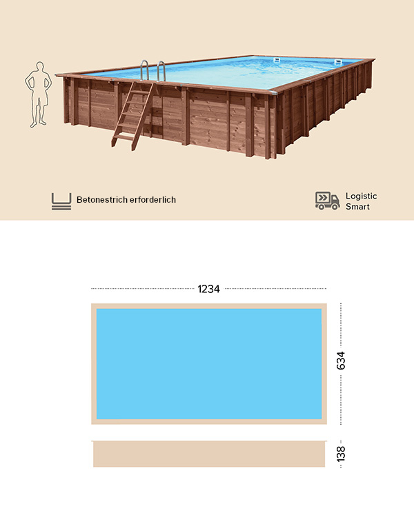 Abatec Holzpool Technische Zeichnung Borneo
