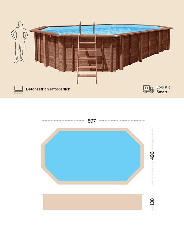 Abatec Holzpool Technische Zeichnung Jamaica