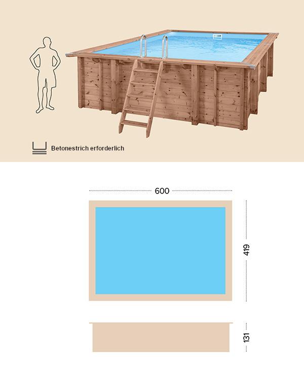 Holzpool technische Zeichnung Abatec Summer Oasis
