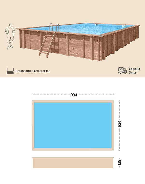 Holzpool technische Zeichnung Abatec Wild Shore