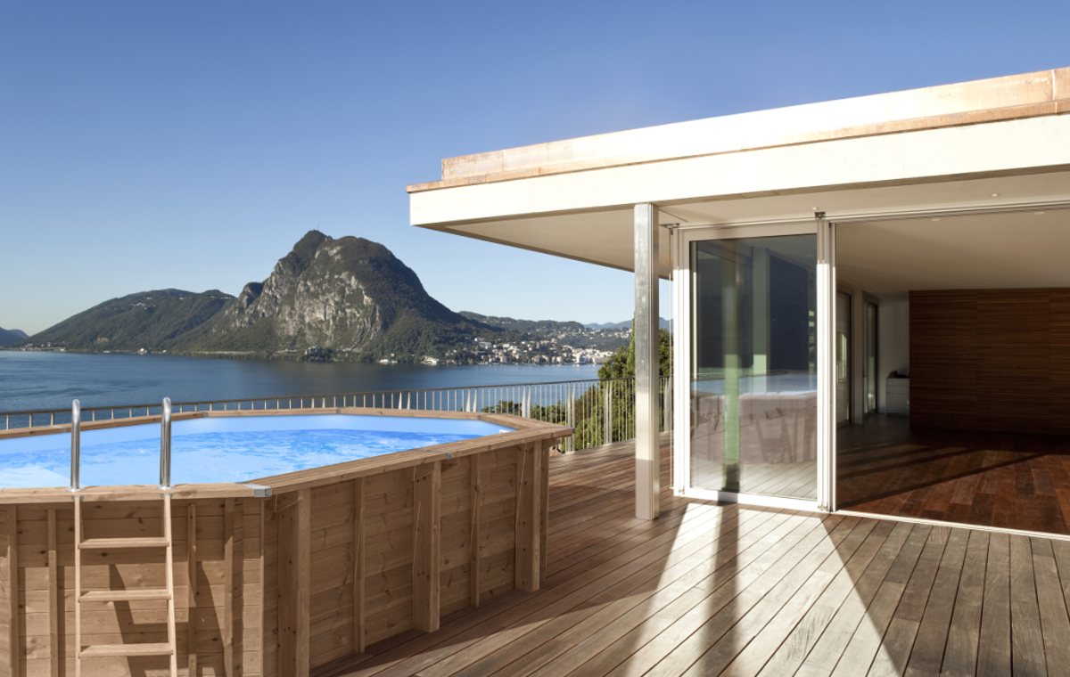 above ground wooden pool abatec terrace beautiful view mountains ocean