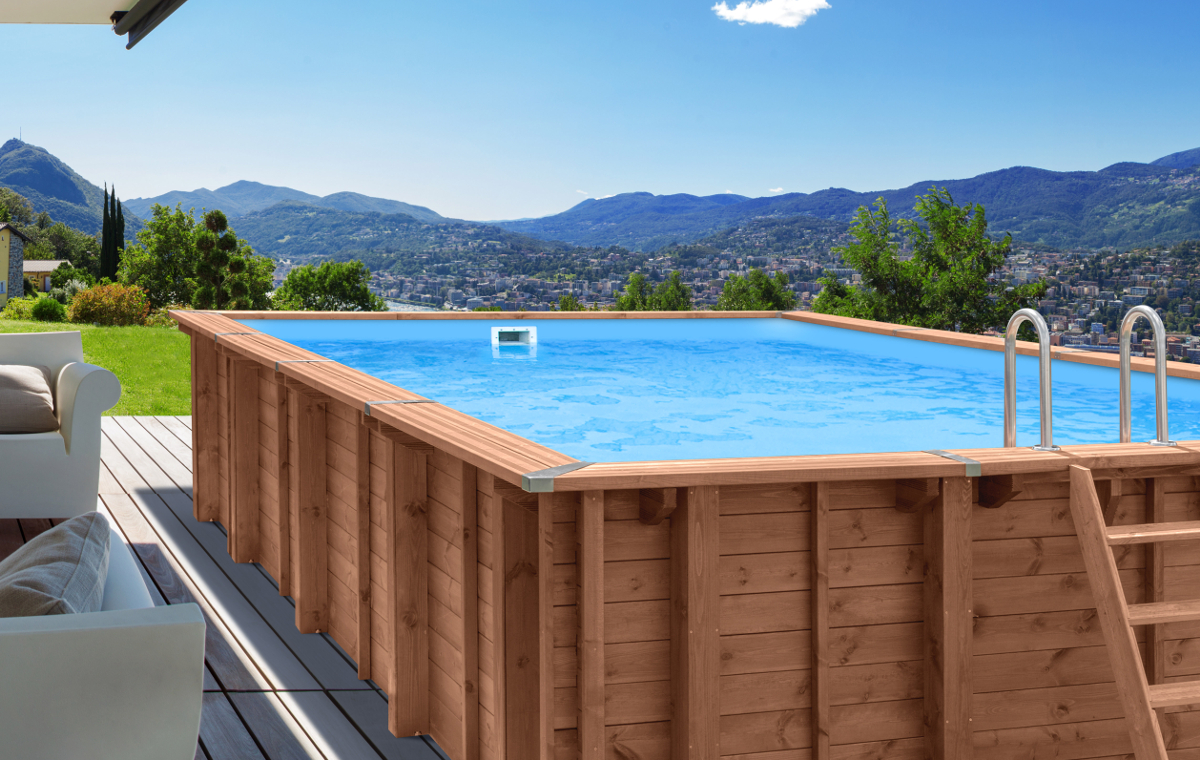 above ground wooden pool abatec terrace landscape mountains summer oasis