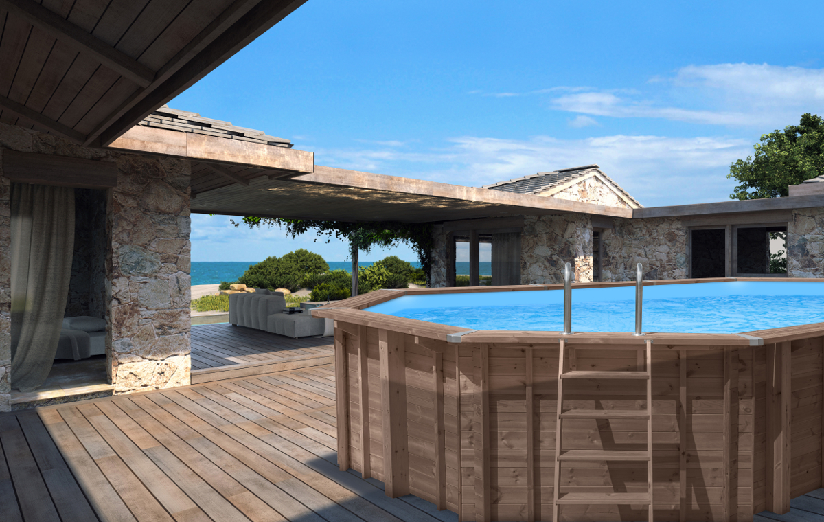 above ground wooden pool abatec terrace outside house beautiful view
