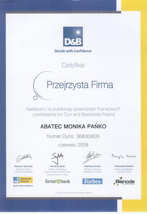 abatec certyfikat przejrzysta firma