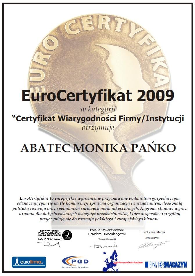 abatec euro certyfikat 2009