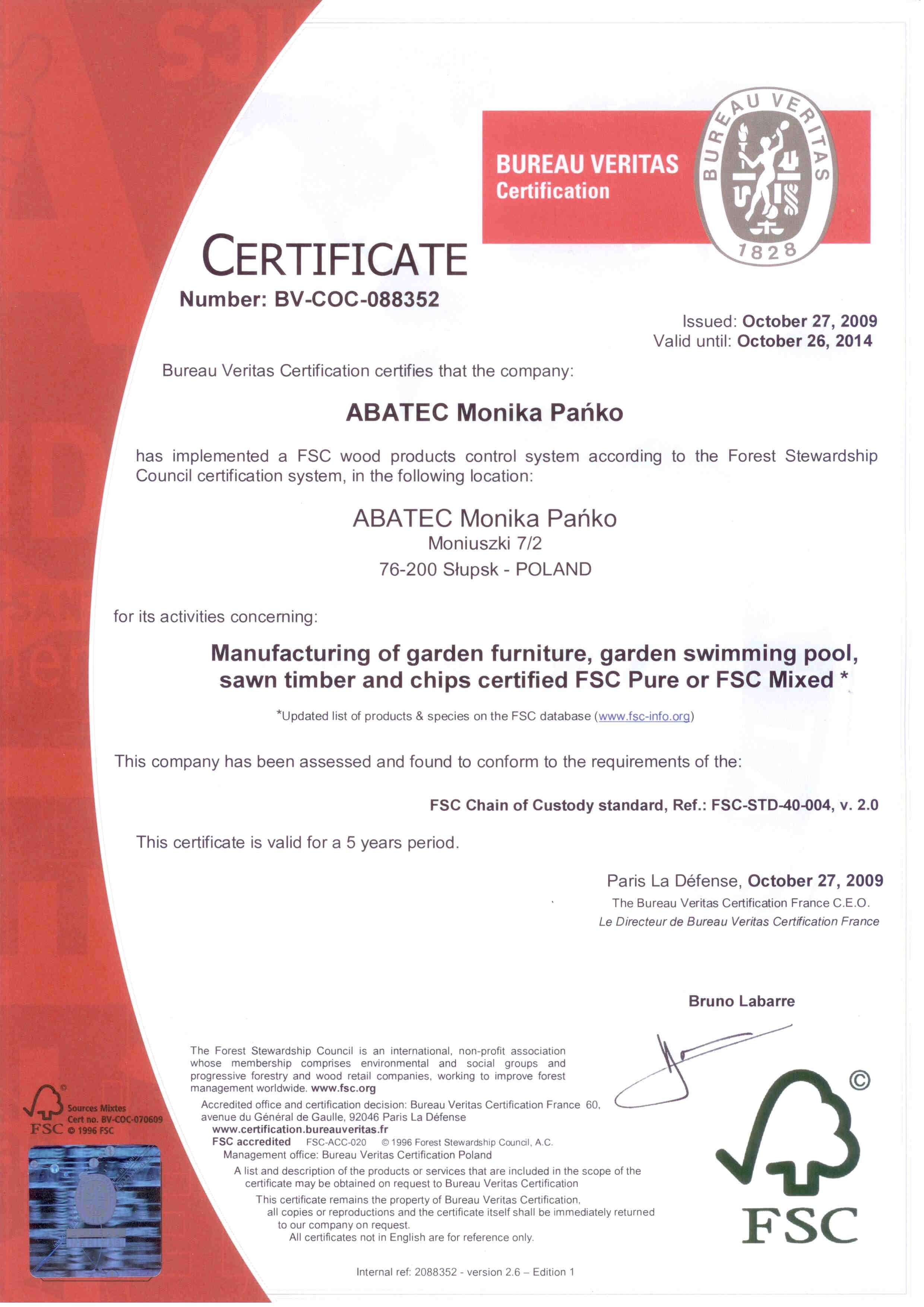 abatec FCS Certyfikat 2009-2014