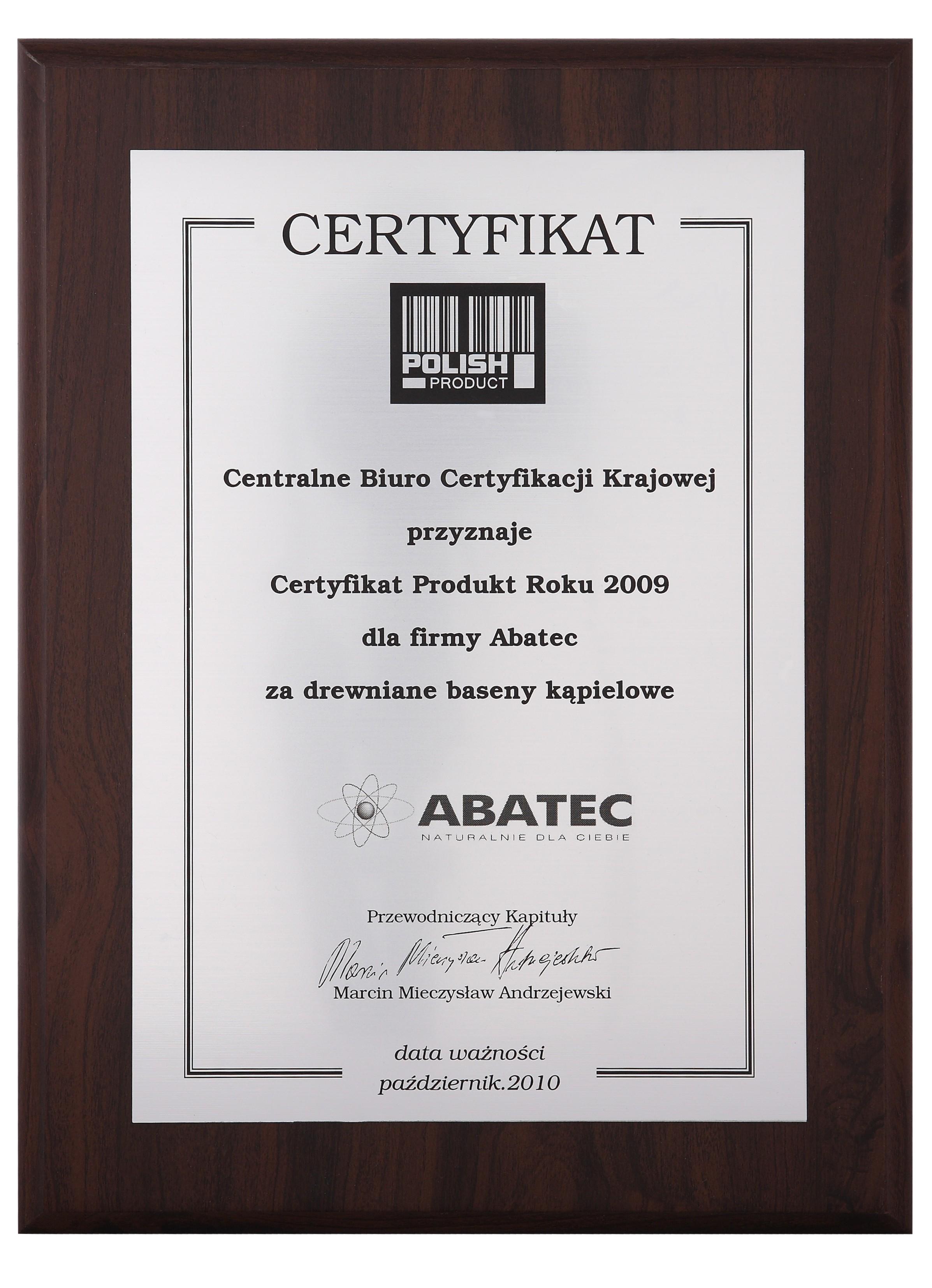 abatec certyfikat polish product 2009