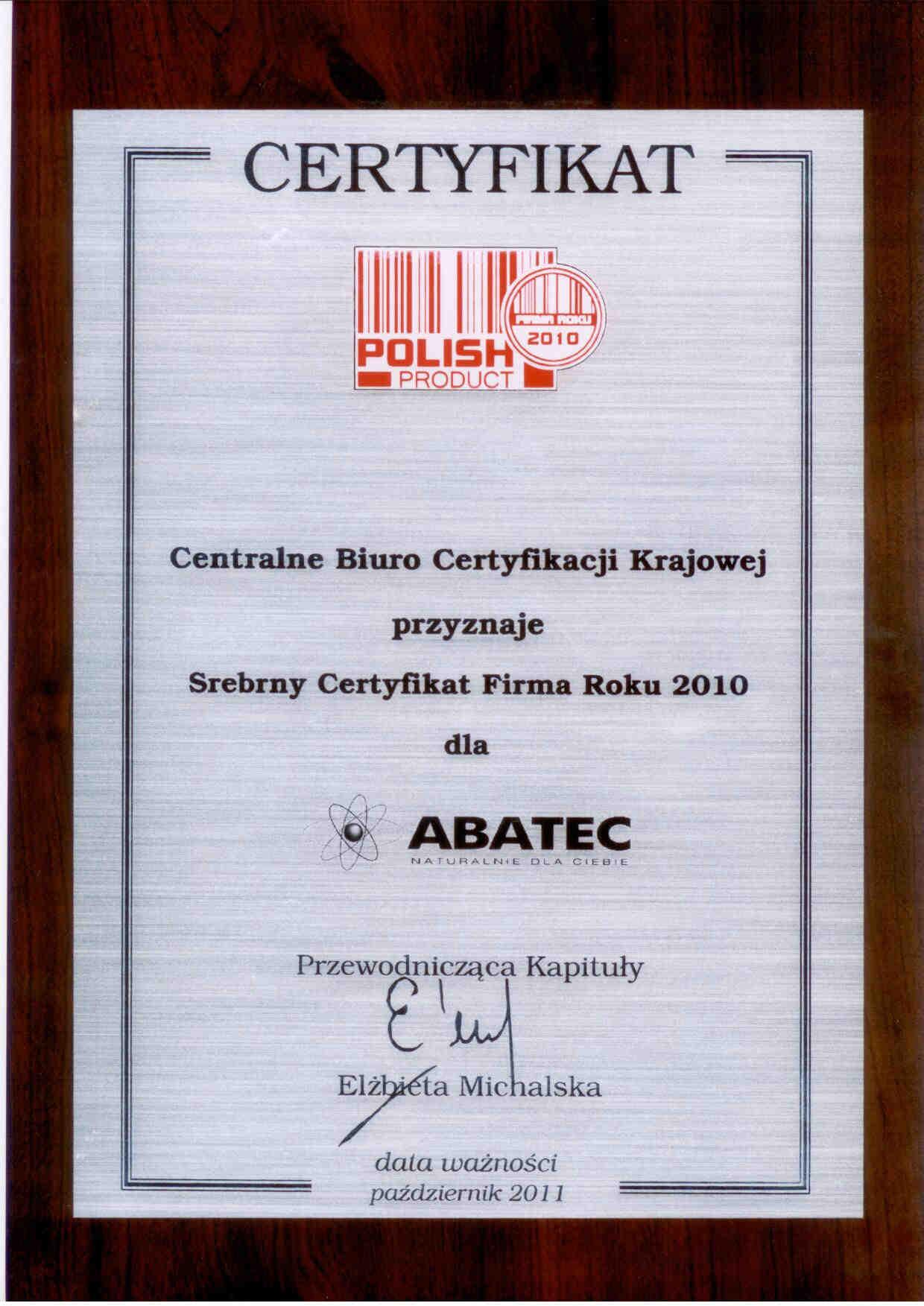 abatec certyfikat polish product 2010