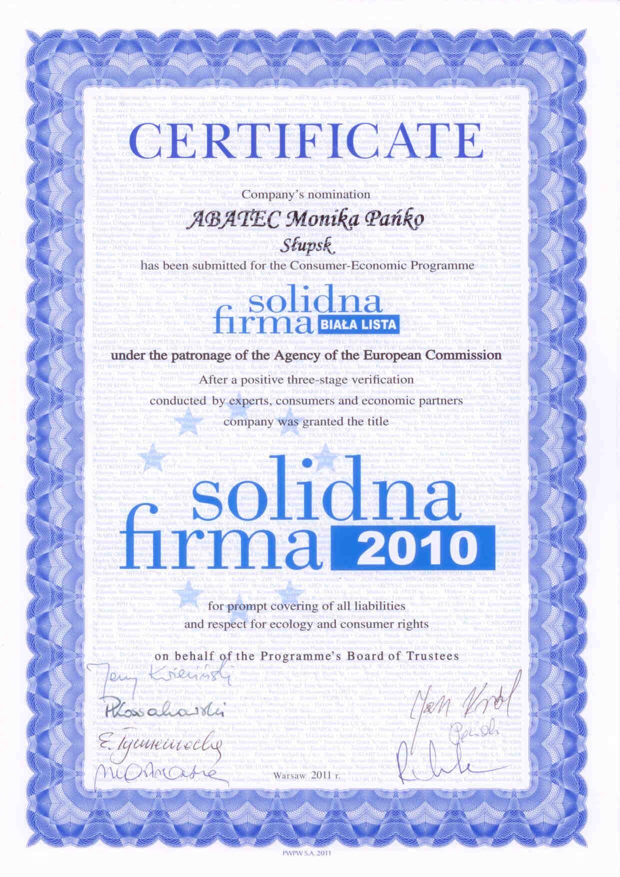 abatec certyfikat solidna firma 2010