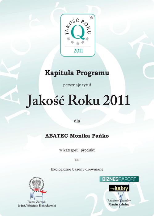 abatec certyfikat jakość roku 2011