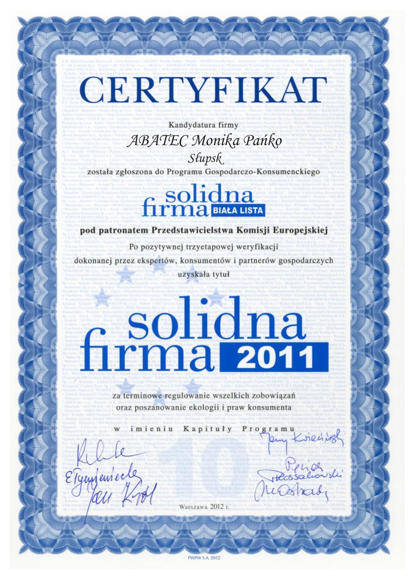 abatec certyfikat solidna firma 2011