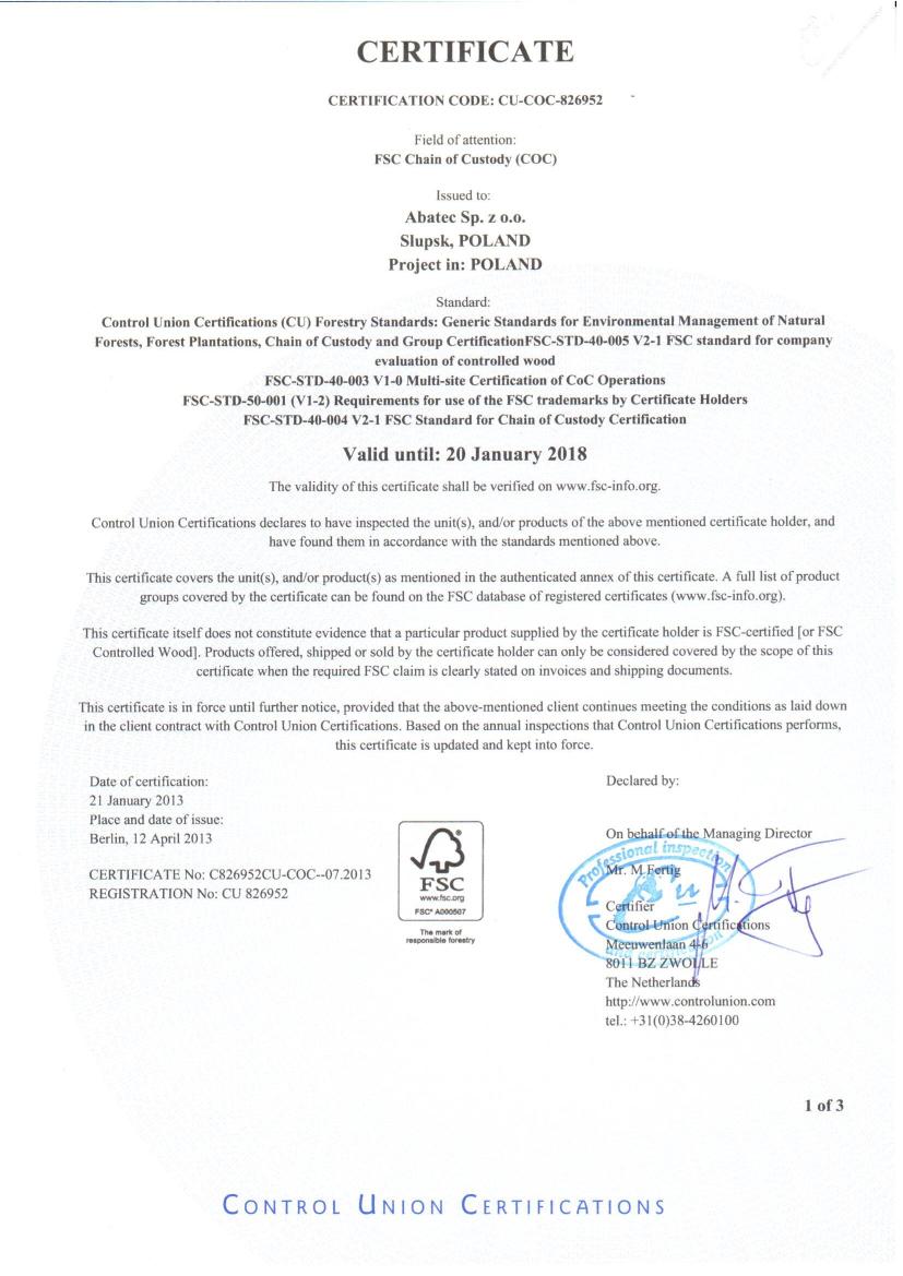 abatec certyfikat FSC 2013-2018