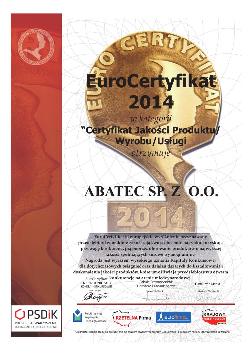 abatec certyfikat eurocertyfikat 2014