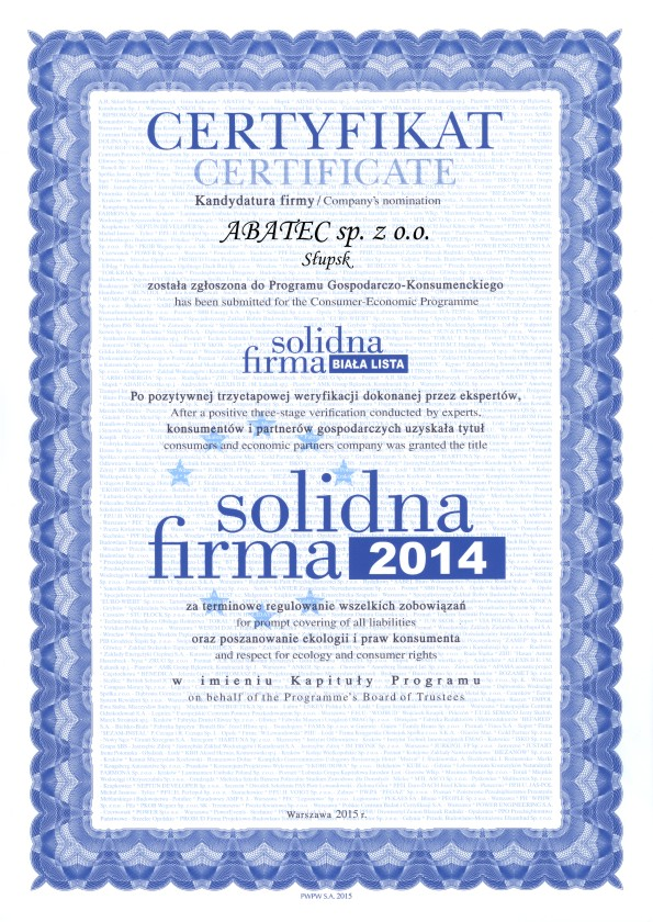 abatec certyfikat solidna firma 2014