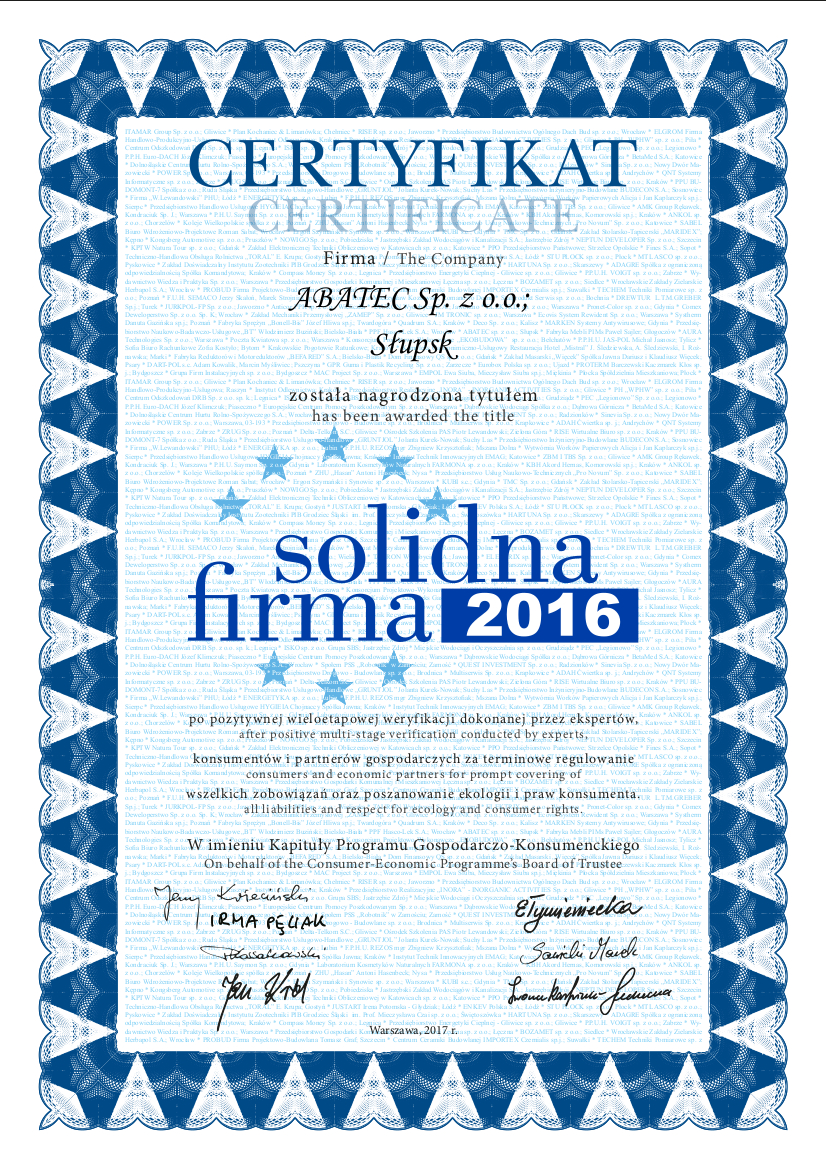abatec certyfikat solidna firma 2016