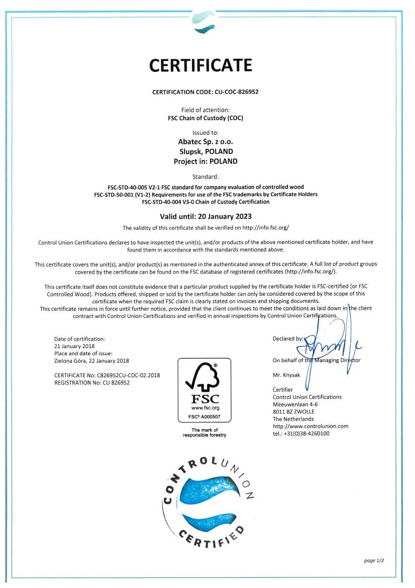 abatec certyfikat FSC certificate 2018-2023