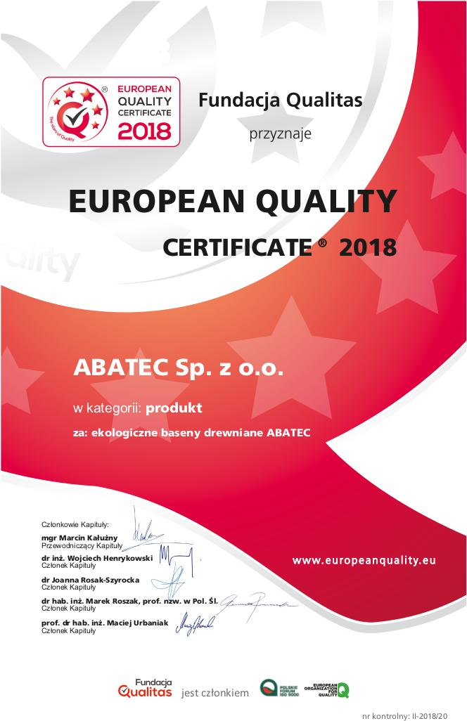 abatec certyfikat European Quality Certificate 2018