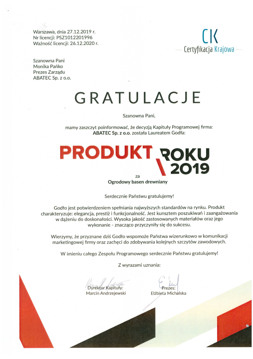 abatec certyfikat produkt roku 2019